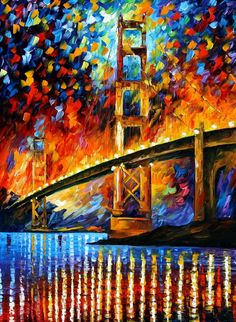 SAN FRANCISCO - GOLDEN GATE - PALETTE KNIFE Oil Painting On Canvas By Leonid Afremov http://afremov.com/SAN-FRANCISCO-GOLDEN-GATE.html?bid=1&partner=20921&utm_medium=/vpin&utm_campaign=v-ADD-YOUR&utm_source=s-vpin