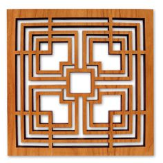 """This cherry-stained wood trivets design is adapted from the concrete """"textile"""" blocks that comprise the John Storer House in Los Angeles, California."""