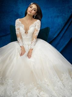 Allure Bridals 9366 Lace Long Sleeve Ball Gown Wedding Dress