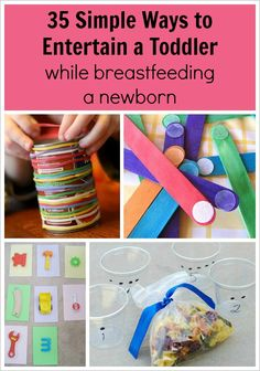 comes along and you need to keep your first kid occupied while feeding or nursing your infant. The ultimate list of ways to entertain a toddler while breastfeeding a newborn! So helpful for when baby Toddler Play, Toddler Learning, Toddler Crafts, Toddler Games, Kid Games, Baby Games, Children Play, Toddler Stuff, Toddler Meals