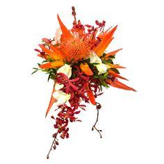 Cotopaxi Bouquet Mariée. Un bouquet de Mariée aux fleurs exotiques, héliconias, orchidées et nutans, pour un mariage exotique. Fleurs Lointaines