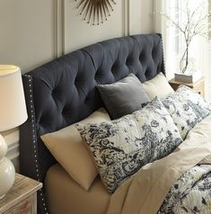 King/California King Upholstered Headboard in Dark Gray with ...