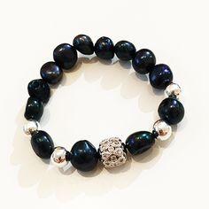 Bracelets By Vila Veloni Black Balls and Decorate Cube