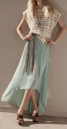mint + lace  Lace blouse  so beautiful so elegant  Aqua turquoise long skirt. Beautiful