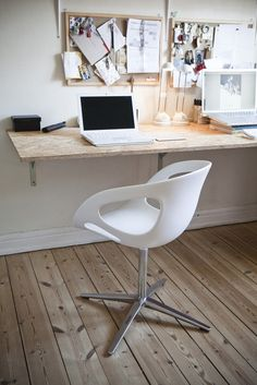 Neutral but elegant office area using natural wood, raise it to a standing desk and its even better.