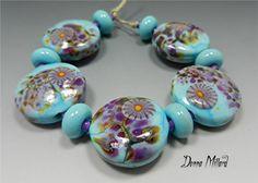 SRA HANDMADE LAMPWORK Glass Bead Set of 11 Donna Millard organic turquoise blue purple orchid