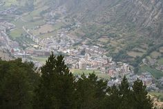 The town of Encamp, Andorra, as seen from the Vall dels Cortals