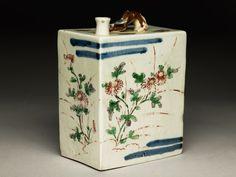 Rectangular bottle with floral decorationoblique, Arita, Edo Period (1600 - 1868)