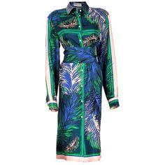 Emilio Pucci Shirtwaist Dress ($1,260) ❤ liked on Polyvore featuring dresses, mixed print dress, blue dress, colorful dresses, blue pattern dress and pattern dress