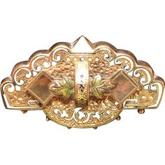"""Antique Taille D""""Epargne Tri-Color Black Hills Gold Filled Watch Pin.  ON SALE NOW at """"Vintage Jewelry Stars"""" shop at http://www.rubylane.com/shop/vintagejewelrystars !!"""