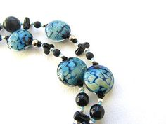 Kronos Necklace Black and Blue Tasselled Necklace with