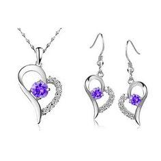cuore in argento silver plated (collane e orecchini) set di gioielli da sposa – EUR € 11.51