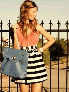 Black and White Stripped Skirt, Coral Tank, Blue handbag - Cute outfit