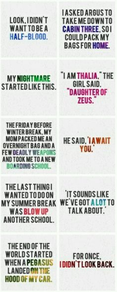 First and last sentences of Percy Jackson books.