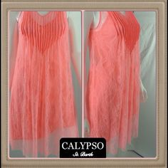 ✅🍉Authentic Calypso St. Barth Lace Dress - Small Genuine Calypso peach lace dress w/full color matched adjustable slip. Boutique style sleeveless dress has raw edges on lace hem and bodice pipping trim. Light, casual, airy &  flirty dress retails new $195-tag w/retail price attached but torn. No stains, odors or marks. Perfect dress for garden party or summer gatherings. Great dress steamy days, July & August. Dress up/down, wear w/sandals, slides or pumps. Just perfect for vacation to an…
