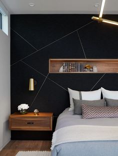 Black accent wall brings a touch of refinement to the contemporary bedroom . - Black accent wall brings a touch of refinement to the contemporary bedroom … – Black accent wa - Bedroom Wall Designs, Room Ideas Bedroom, Home Bedroom, Bedroom Furniture, Accent Wall Designs, Bedroom Interiors, Dream Bedroom, Bedroom Wall Decorations, Wall Ideas For Bedroom