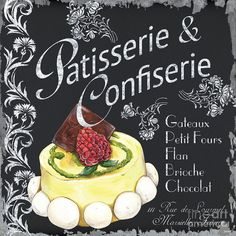 Artwork Available for print! #fineart #art #artwork #vintage #pastries #bakery #french #kitchen