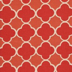 "A classic, quatrefoil geometric in two tones of melon red by Braemore. Pattern is multi directional and has a repeat of 2.25"" x 2.25"".  Made of 100% cotton, light upholstery weight fabric, weighs 10 oz per yard or 300 grams per yard.  Perfect for drapery, curtains, pillows, bedding accessories and most any home decor project."