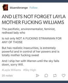 "Not ""Sorry Will."" Fuck you Will you don't deserve her>>>>> OMG IM NOT THE ONLY ONE WHO SHIPS HER WITH WARREN THANK GOD"