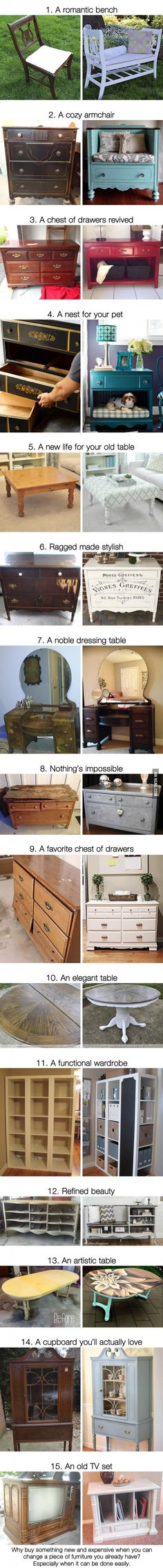 15 brilliant ideas for giving new life to old furniture                                                                                                                                                     More