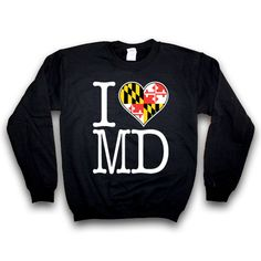 Route One Apparel, I HEART MARYLAND FLAG / CREW SWEATSHIRT, $30.