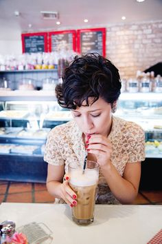 Malt shop curls.    If I lose a bunch of weight... This is what I'm doing to my hair. Pixie cut!