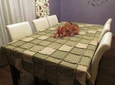Garden Green Ragged Patchwork Tablecloth
