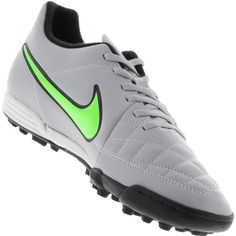 Chuteira Nike Tiempo Rio 2 TF Society Masculina Cinza   Verde 045672d4589eb