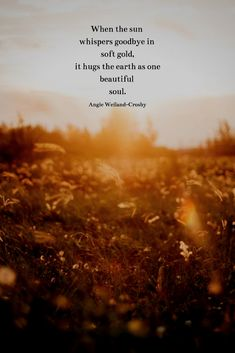 sunset quotes soulful nature quote with a sunlit field.When the sun whispers goodbye in soft gold, it hugs the earth as one beautiful soul. Sun Quotes, Nature Quotes, Words Quotes, Sunset Qoutes, Quotes About Sunrise, Sunrise Quotes Morning, Quotes Quotes, Sunset Gif, Wisdom Quotes