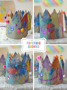 Paper bag crowns for FAIRY TALE or STORY BOOK theme.