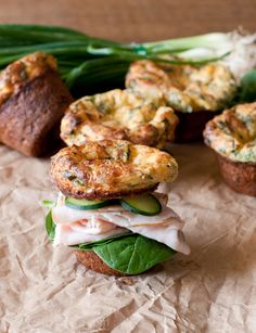 Spinach and Cheddar Popovers make the best mini sandwiches. Great holiday brunch or lunch recipe. Serve them simply with butter, or stacked high with sandwich toppings!