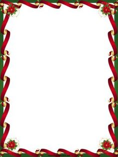 Printable christmas border writing paper gift tag letter cards gold and red ribbons line the sides of this free printable christmas border while negle Gallery