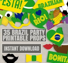 35 Brazil Party Theme Photo Booth Props, Brazilian themed party props, love Rio…