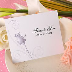 Thank You Card - Rose (Set of 50) – USD $ 36.99