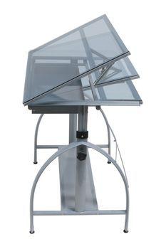 Studio Designs Avanta Drafting Table - Silver / Blue Glass