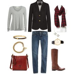 """""""Checked Scarf"""" by bluehydrangea on Polyvore"""