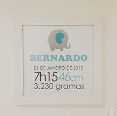 Quadro com os dados de nascimento do bebê para decorar o quarto, ou a porta da…