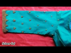 *Hand embroidery Beads Work for Sari Blouse Sleeve. *Back Stitch beads work * Beads only Cutwork Blouse Designs, Simple Blouse Designs, Bridal Blouse Designs, Hand Embroidery Dress, Aari Embroidery, Embroidery Designs, Princess Dress Patterns, Mirror Work Blouse Design, Churidar Neck Designs