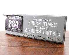 Race Bib Holder It's Not About Finish by StrutYourStuffSignCo