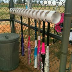 4 inch PVC pipe to hold bats in dugout. That's a great idea for the little fields or even the big (candy bouquet diy volleyball) Softball Dugout, Softball Drills, Softball Crafts, Softball Coach, Girls Softball, Fastpitch Softball, Dugout Mom, Softball Stuff, Softball Team Gifts