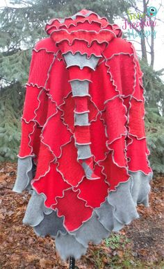 Cashmere Hooded Poncho And Matching Arm Warmers by SewFreakinHappy