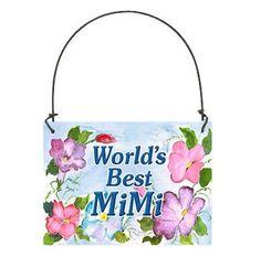 DECO Mini Wood Art Sign Plaque MiMi Ornament Mi Mi Family Relatives Gift New USA #DecorativeGreetingsIncDecoWords #Floral #DoorKnobHangerSmallSignOrnament