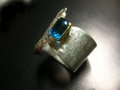 London blue topaz on sterling silver band ring by maroulina