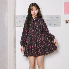 We-buys Woman Mori Girl Long Sleeve Retro Floral Print High Neck Lose Dress…