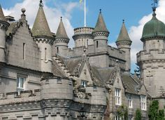 Balmoral Castle, Grampian, Scotland.   Balmoral Castle is a large estate house situated in Royal Deeside, part of Aberdeenshire, Scotland. Balmoral has been one of the residences of the British Royal Family since 1852, when it was purchased by Queen Victoria and her consort, Prince Albert.