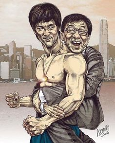 """Jackie Chan and Bruce Lee dan art by Adam Chow.    The Bruce Lee Fanpage (@brucelee_the_immortal_dragon) on Instagram: """"Bruce & Jackie. Have a great weekend!  #BruceLee #JackieChan  Artwork is by Adam Chow.  #awesome…"""""""