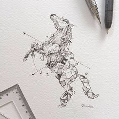 Kerby Rosanes, filipino artist with Geometric Beasts. Horse.