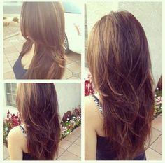Images Of V Shaped Haircut Haircuts For Long Hair With Layers, Long Layered Haircuts, Straight Hairstyles, Layered Hairstyles, Long Hair Cuts Wavy, Wavy Hair, Long Brunette Hairstyles, Haircut Layers, Straight Layered Hair