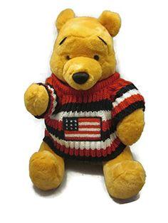"""4th of July Winnie the Pooh Patriotic Medium 14"""" Stuffed Animal"""