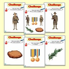 ICT Drawing Challenges for the Foundation Phase, to help promote ICT skills across the curriculum. Challenge Cards, Drawing Challenge, Anzac Day, Remembrance Day, You Draw, Vocabulary, Challenges, Drawings, Anniversaries